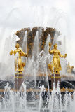 Golden sculptures, Friendship of Peoples fountain Royalty Free Stock Image