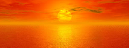 Golden sea. Seascape at sunset. Panorama render sunset ocean stock illustration