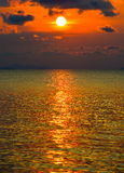Golden sea in the morning. At the Ko Samet island of Thailand Stock Images