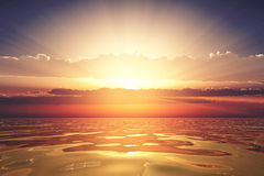 Golden sea at sunset Royalty Free Stock Photos