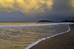 Golden sea sunset Santander Spain Royalty Free Stock Photography
