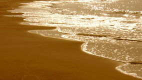 Golden sea waves and beach Royalty Free Stock Photo