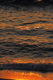 Golden sea waves and sand at sunset Stock Photography