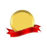 Golden seal. With a red ribbon Stock Image