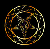 Golden seal of Baphomet Royalty Free Stock Images