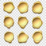 Golden seal. Elite gold wax seals, premium stamps and reliability envelope post stamp vector illustration set stock illustration