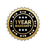 Golden Seal 1 Year Warranty Sign Isolated Badge Icon. Vector Illustration Royalty Free Stock Photo