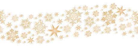 Golden seamless border with stars and snowflakes Stock Photos
