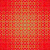 Golden seamless Chinese cross square line geometry window tracery pattern background. Golden seamless background image of Chinese style red geometry cross Royalty Free Stock Photos