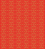 Golden seamless Chinese geometry square line lattice window tracery pattern background. Stock Photos