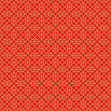 Golden seamless Chinese style window tracery square polygon geometry pattern background. Stock Photos