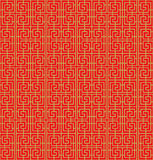 Golden seamless Chinese window tracery lattice spiral square geometry line. Stock Image