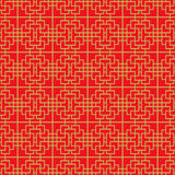 Golden seamless Chinese window tracery lattice square line pattern. Stock Photography
