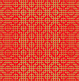 Golden seamless Chinese window tracery square cross line pattern background. Stock Photo