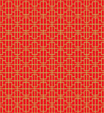 Golden seamless Chinese window tracery square line pattern background. Stock Image