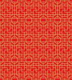 Golden seamless Chinese window tracery square spiral geometry pattern background. Stock Images