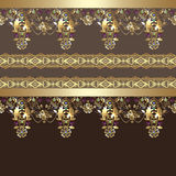 Golden seamless eastern arabic gold lace pattern background Stock Photo