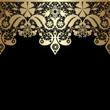 Golden seamless eastern lace pattern on black. Background Royalty Free Stock Photography