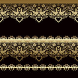 Golden seamless eastern lace pattern on black Royalty Free Stock Photos