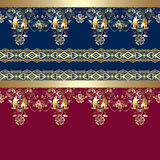 Golden seamless eastern lace pattern on blue and red Stock Photo