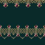 Golden seamless eastern lace pattern. On green background Stock Photo