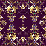 Golden seamless eastern lace pattern Royalty Free Stock Photos