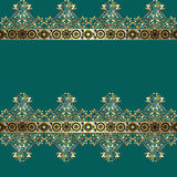 Golden seamless eastern lace pattern on turquoise Stock Photography