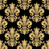 Golden seamless fleur-de-lis pattern over black Royalty Free Stock Photo