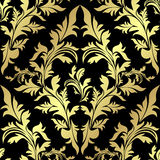 Golden seamless floral Pattern on black  Stock Images
