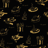 Golden seamless hand-drawn food pattern with the Royalty Free Stock Photography