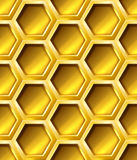 Golden seamless hexagon grid Stock Photos