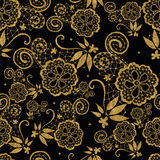 Golden seamless lace flowers pattern Stock Photography