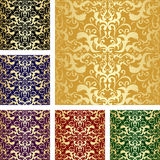 Golden seamless luxury pattern. Set of six variant Royalty Free Stock Image