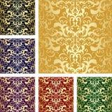 Golden seamless luxury pattern. Set of six variant royalty free illustration