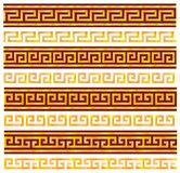Golden seamless meanders. Ancient Greek ornaments. Stock Photo