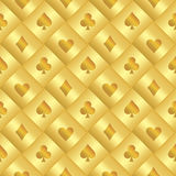 Golden seamless pattern with poker card black and Stock Images