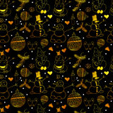 Golden seamless pattern with snowmen. Christmas and New Year seamless pattern with traditional holiday symbols. Golden seamless pattern with snowmen Royalty Free Stock Photography