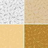 Golden seamless patterns with bitcoins - vector backgrounds. Golden seamless patterns with bitcoins - bright vector backgrounds Royalty Free Stock Photos