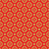 Golden seamless vintage Chinese diamond round flower pattern background. Stock Image