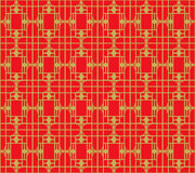Golden seamless Vintage Chinese style window tracery geometry pattern background. Royalty Free Stock Photography