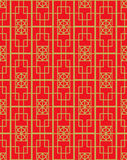 Golden seamless Vintage Chinese style window tracery square geometry pattern background. Royalty Free Stock Image