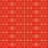 Golden seamless Vintage Chinese style window tracery square geometry pattern background. Stock Image