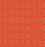 Golden seamless vintage Chinese window tracery pattern background. Stock Image