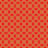 Golden seamless vintage Chinese window tracery square check line pattern background. Stock Photo