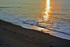 Golden Seas at Sunrise at the Shore. The sunrises over the ocean on a summer morning at the shore producing golden and glowing seas Stock Image