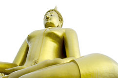 Golden Seated Buddha Image on White Background Stock Photography