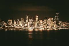 Golden Seattle Skyline Stock Images