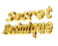 Golden Secret Technique text on a white background. 3d illustration. Golden Secret Technique text on a white background Stock Image