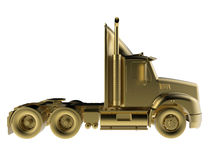 Golden semi truck side view Royalty Free Stock Images