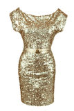 Golden sequin dress with golden belt Stock Photo